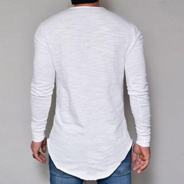 Hot Selling Autumn New Mens Long Sleeved T Shirt O Neck Slim Solid Color T shirt Mens Casual T Shirt Tops Parcel Post Extra Image 5