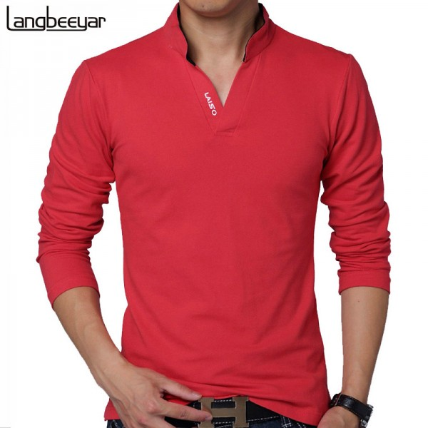 Hot Selling New Fashion Brand Men Clothes Solid Color Long Sleeve Slim Fit T Shirt Men Cotton Casual T Shirts Extra Image 1