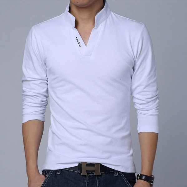 Hot Selling New Fashion Brand Men Clothes Solid Color Long Sleeve Slim Fit T Shirt Men Cotton Casual T Shirts Extra Image 4