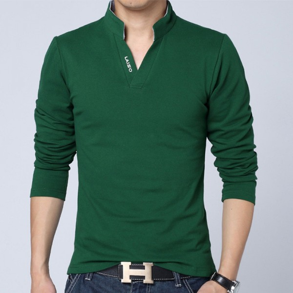 Hot Selling New Fashion Brand Men Clothes Solid Color Long Sleeve Slim Fit T Shirt Men Cotton Casual T Shirts Extra Image 5