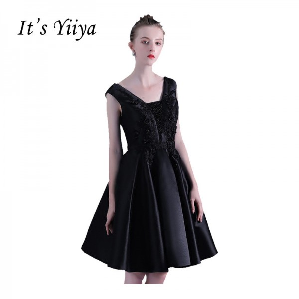 Hot Sleeveless Scalloped Cocktail Dresses Lace Up Simple  little black dress Luxury Beading Little Black Dress Extra Image 1