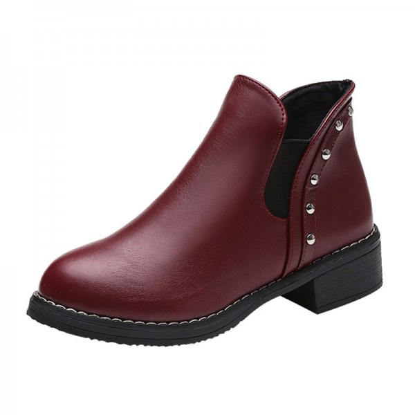 Hot style Fashion Women Rivets Flat boots Round head thick bottom PU leather woman Top Quality Martin boots