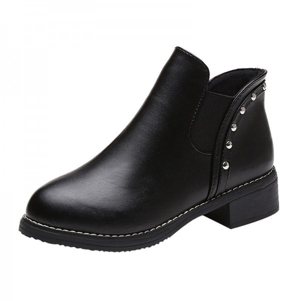 Hot style Fashion Women Rivets Flat boots Round head thick bottom PU leather woman Top Quality Martin boots Extra Image 2