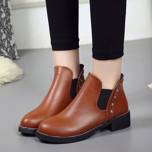 Hot style Fashion Women Rivets Flat boots Round head thick bottom PU leather woman Top Quality Martin boots Extra Image 4