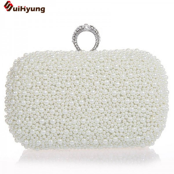 Hot Style Women Beaded Handbags Clutches Bridal Duplex Full Pearl Diamond Marriage Clutch For Thumbnail