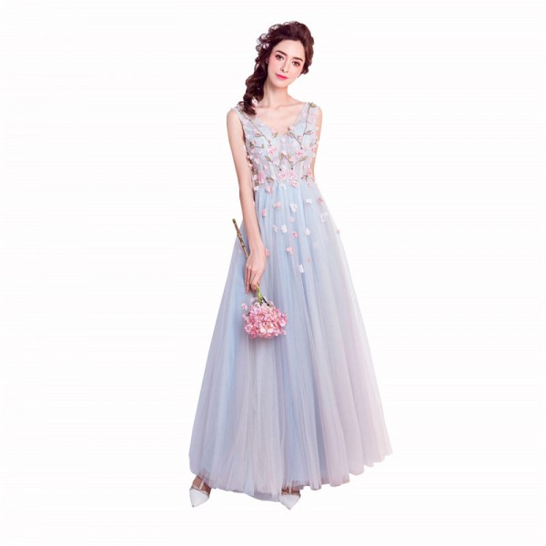 Hot V Neck Sleeveless Evening Gowns Beading Flower Pattern Appliques Special Elegant Prom Dress Lace Up Dress Extra Image 3