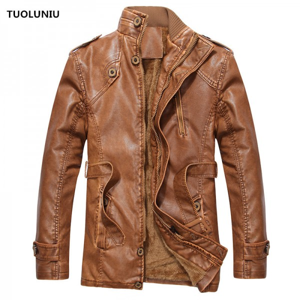 Hot warm autumn and winter warm mens leather jackets motorcycle jacket mens coat free shipping Extra Image 1