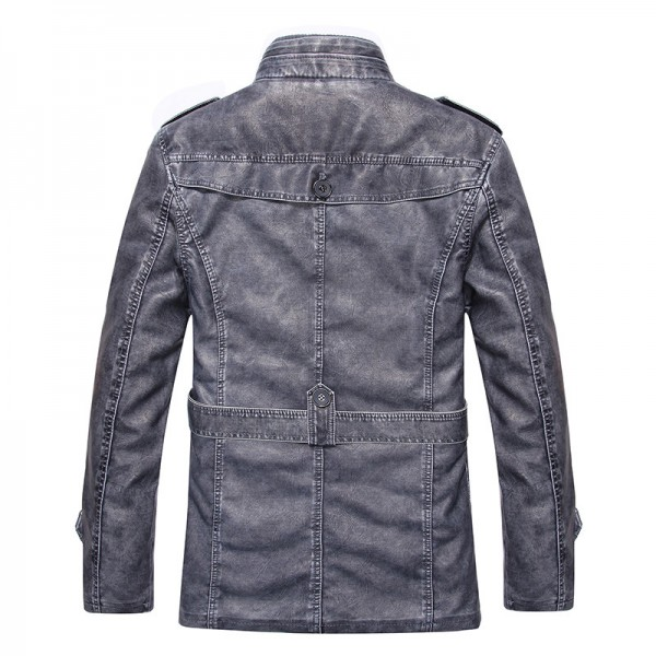 Hot warm autumn and winter warm mens leather jackets motorcycle jacket mens coat free shipping Extra Image 4