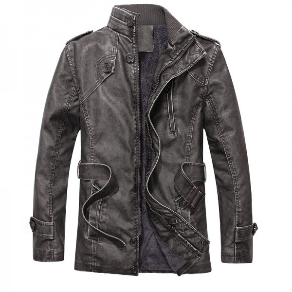 Hot warm autumn and winter warm mens leather jackets motorcycle jacket mens coat free shipping Extra Image 5
