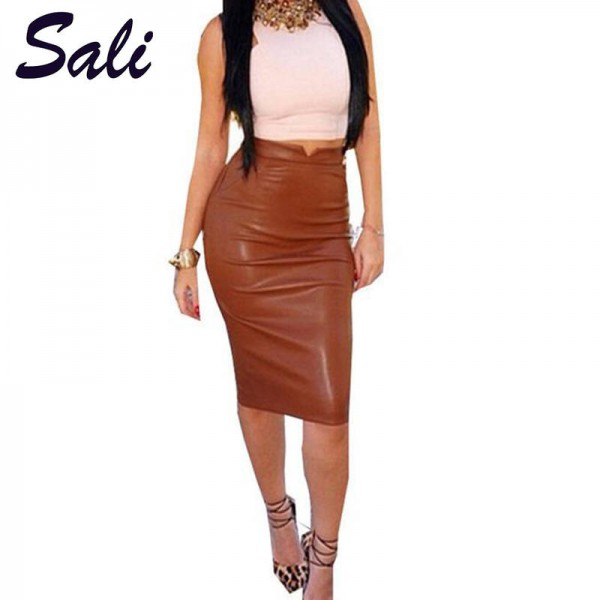 Hot Women Pu Leather High Waist Slim Fit Bodycon Skirt For Ladies Thumbnail