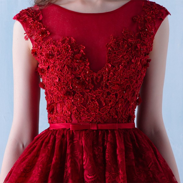 Fashion Bride Short Sexy Bridesmaid Red Dress V Neck Formal Marriage Prom Party Dress New Arrival For Women Extra 3