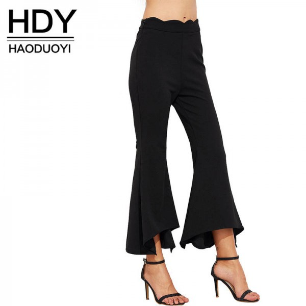 HYD Solid Color Zipper Women Flare Pants Casual Straight Soft Slim Pants Women Thumbnail