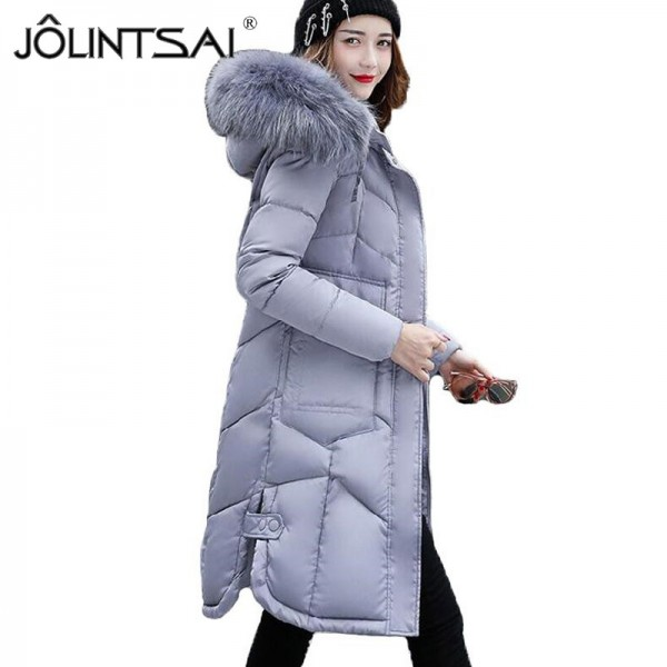Jacket Women Long Cotton Padded Thicken Coat Women Parka Big Fur Collar Hooded Womens Jackets Coats Outerwear Extra Image 1