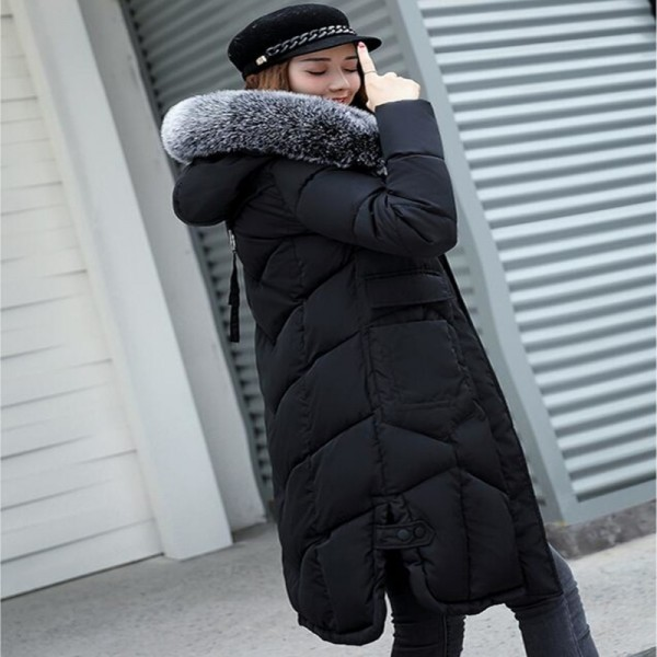 Jacket Women Long Cotton Padded Thicken Coat Women Parka Big Fur Collar Hooded Womens Jackets Coats Outerwear Extra Image 3