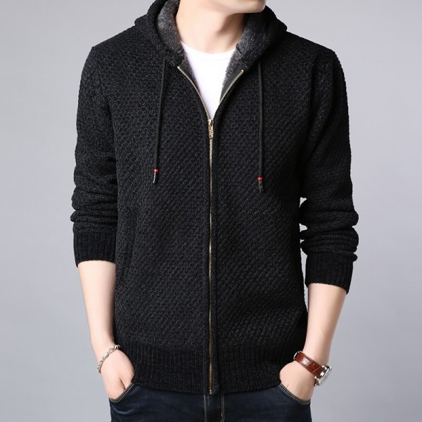 Jackets Mens Velvet Hooded Cardigan Trend Overcoat Autumn Winter Slim Fit Windbreakers Casual Coat Mens Clothes