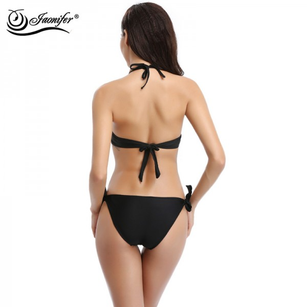Jaonifer Bikini 2018 Swimwear Sexy Mesh Bandage Backless Push Up Swimsuits Bathing Suits For Women Extra Image 4