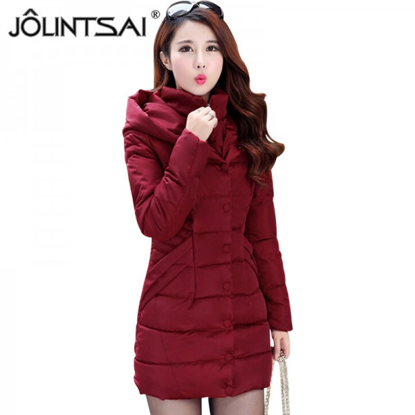 JOLINTSAI Winter Jacket Women Mid Long Hooded Parkas Mujer Thick Cotton Padded Coats Casual Slim Winter Coat Women Extra Image 1