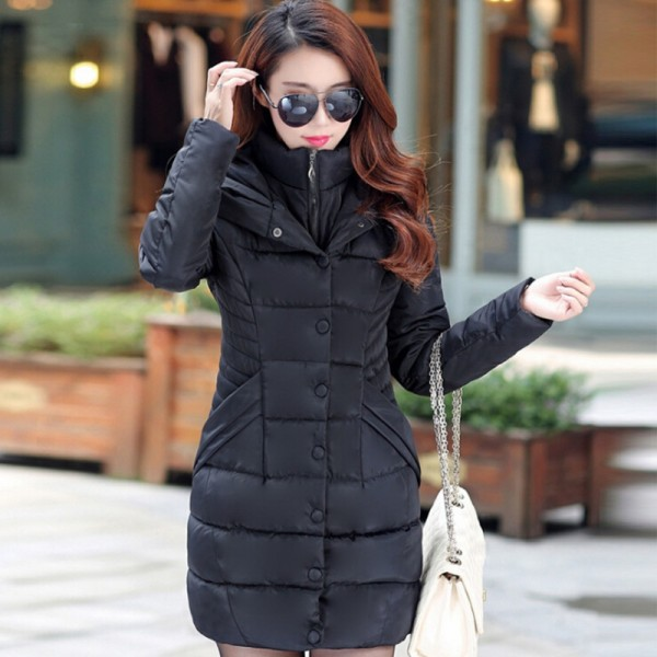 JOLINTSAI Winter Jacket Women Mid Long Hooded Parkas Mujer Thick Cotton Padded Coats Casual Slim Winter Coat Women Extra Image 5