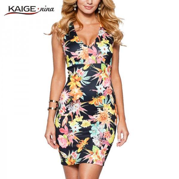 Kaige Nina Women Dress Summer Party Printed Sleeveless V Neck Sexy Fashion Dress For WomenExtra Images 0
