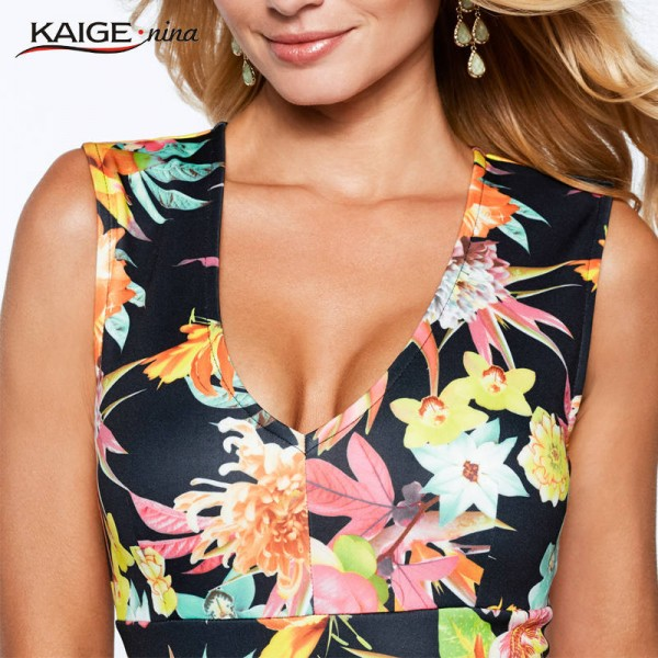 Kaige Nina Women Dress Summer Party Printed Sleeveless V Neck Sexy Fashion Dress For Women Extra Images 3