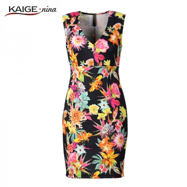 Kaige Nina Women Dress Summer Party Printed Sleeveless V Neck Sexy Fashion Dress For Women Extra Images 4
