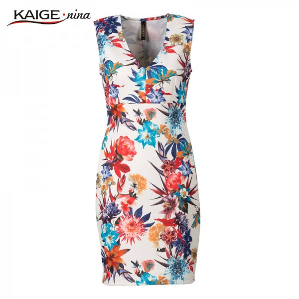 Kaige Nina Women Dress Summer Party Printed Sleeveless V Neck Sexy Fashion Dress For Women Extra Images 5