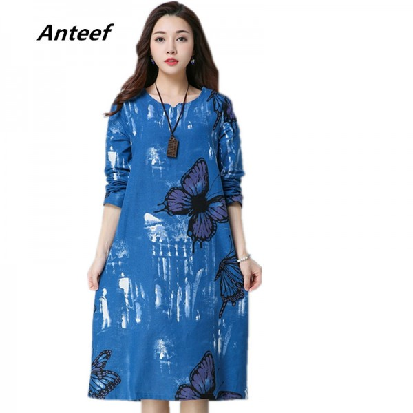 Knee Length A Line Butterfly Printed Casual Party Vintage Printed Cotton Linen Spring Autumn Dress For Female Extra Image 1