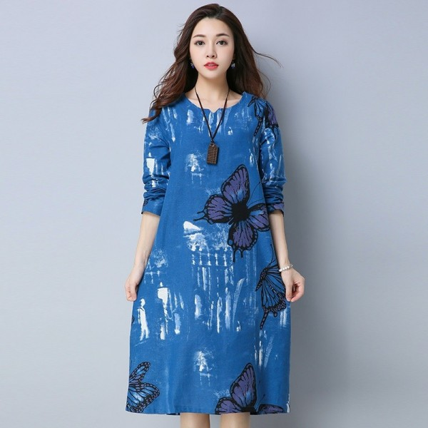 Knee Length A Line Butterfly Printed Casual Party Vintage Printed Cotton Linen Spring Autumn Dress For Female Extra Image 5