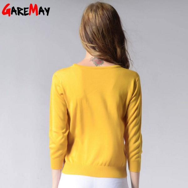 Knitted Sweater Autumn Women Polka Dot Slim Elegant Yellow Sweater For Women Extra Images 1
