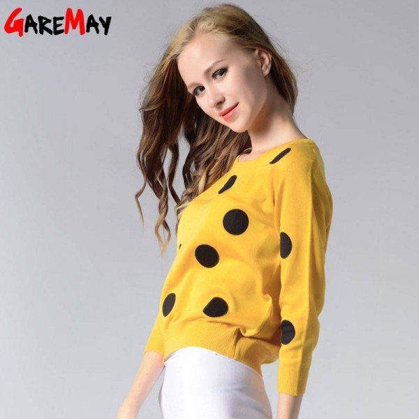 Knitted Sweater Autumn Women Polka Dot Slim Elegant Yellow Sweater For Women Extra Images 2