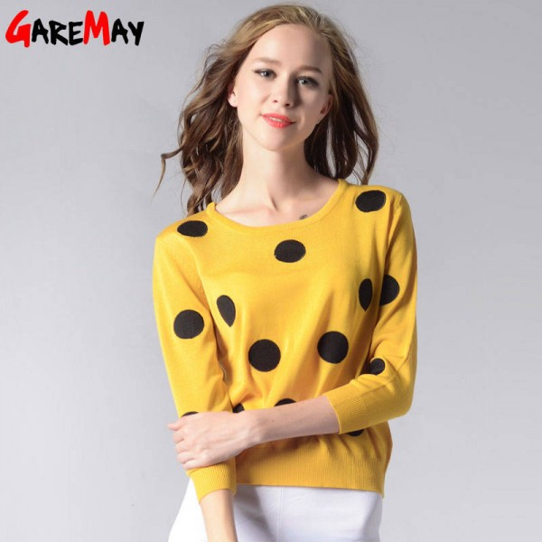 Knitted Sweater Autumn Women Polka Dot Slim Elegant Yellow Sweater For Women Extra Images 3
