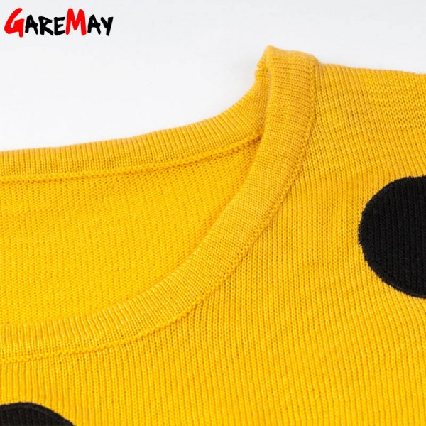 Knitted Sweater Autumn Women Polka Dot Slim Elegant Yellow Sweater For Women Extra Images 4