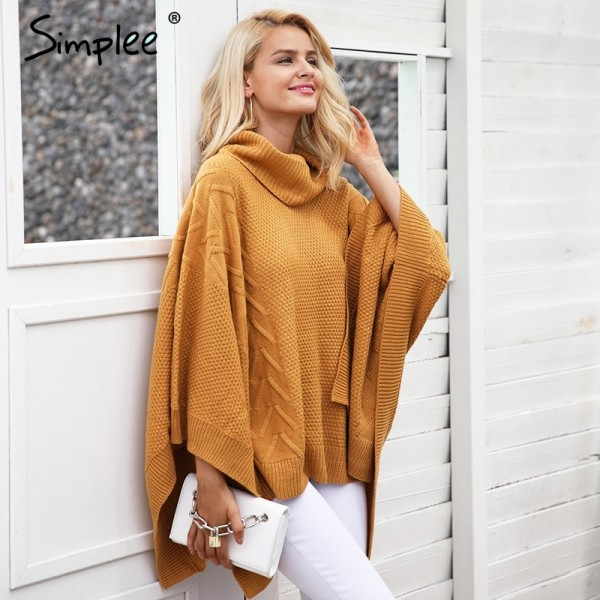 Knitted turtleneck sweater cape Women casual gray winter pullover poncho Autumn streetwear warm black capes tops