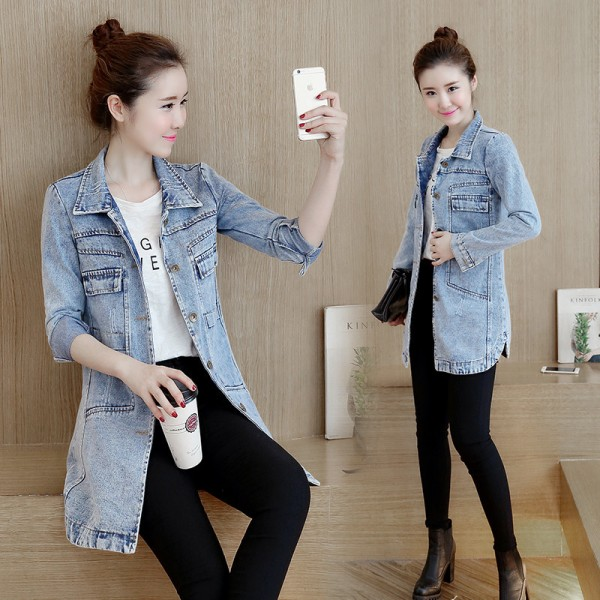 Korean Style Hot New Casual Denim Jacket Fashion Slim Women Coat Windbreaker Long Sleeve Autumn Jacket Clothing Extra Image 2