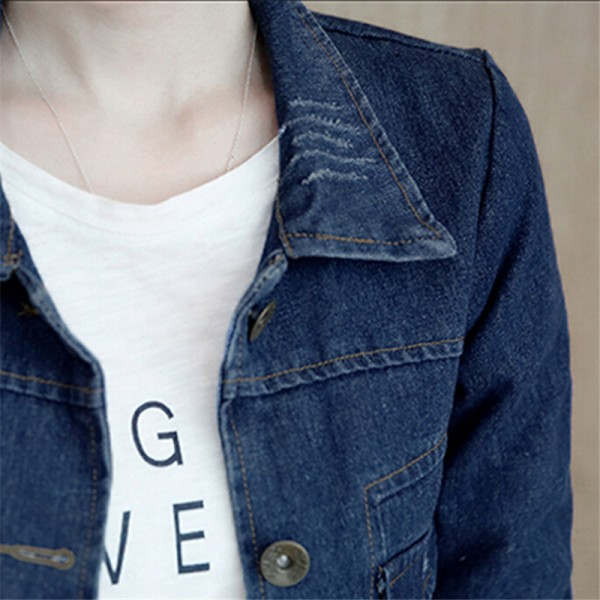 Korean Style Hot New Casual Denim Jacket Fashion Slim Women Coat Windbreaker Long Sleeve Autumn Jacket Clothing Extra Image 5