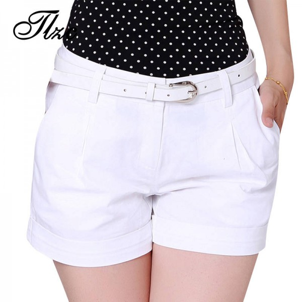 Korean Style Women Cotton Shorts Plus Size New Fashion Ladies Casual Shorts Solid Color Mini Shorts For Women Thumbnail
