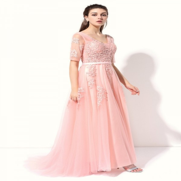 Lace Evening Dress The Bride Banquet Sexy V Neck Half Sleeves Embroidery Long Party Prom Dress Formal Robe Extra Image 3