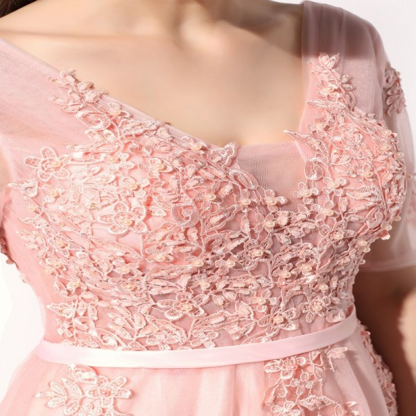 Lace Evening Dress The Bride Banquet Sexy V Neck Half Sleeves Embroidery Long Party Prom Dress Formal Robe Extra Image 5