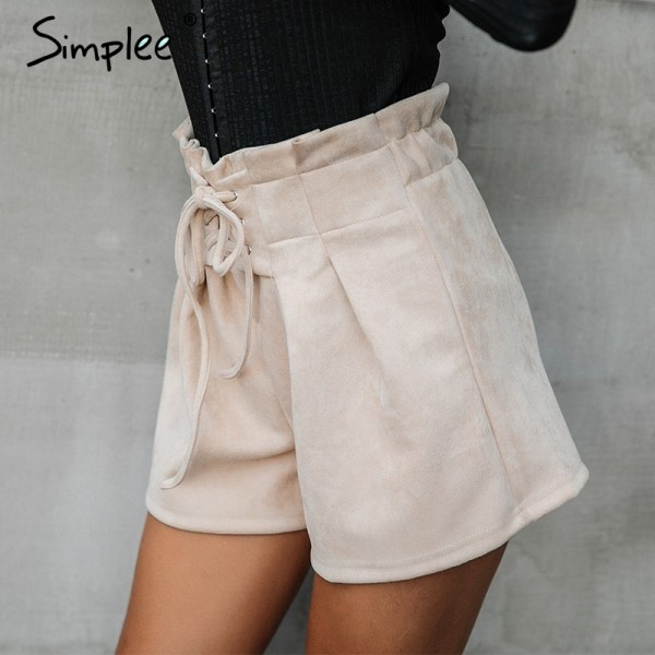 Lace up Skirt suede faux leather shorts women Casual high waist shorts female loose soft winter shorts women bottom Extra Image 2
