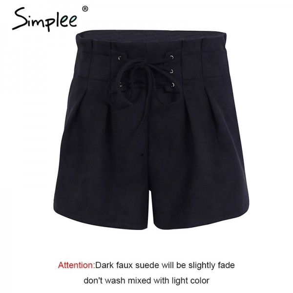 Lace up Skirt suede faux leather shorts women Casual high waist shorts female loose soft winter shorts women bottom Extra Image 6