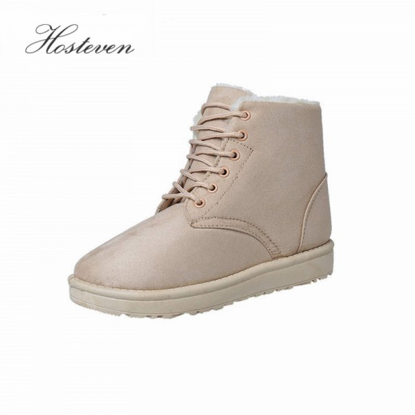 Ladies Autumn Winter Plush Boots Lace Up Fur Leather Flats Solid Ankle Flock Snow Boots Female Winter Footwear Extra Image 1