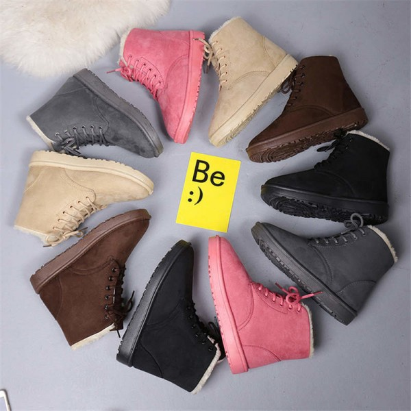 Ladies Autumn Winter Plush Boots Lace Up Fur Leather Flats Solid Ankle Flock Snow Boots Female Winter Footwear Extra Image 6