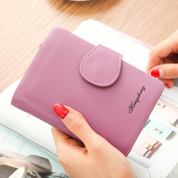 Lady Letter Snap Fastener Clutch Wallet For Women Solid Vintage Women Wallet Small Design Thumbnail