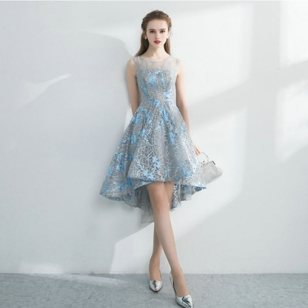 0f124f172ce2 Lamya Embroidery Banquet Evening Dress Short Pretty Front Back
