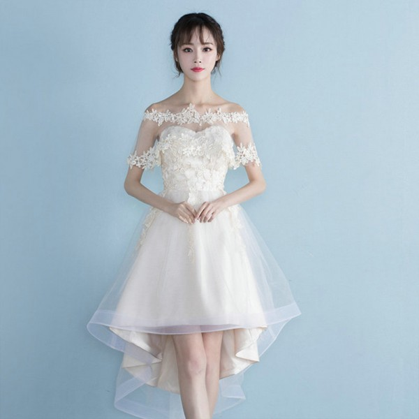 Buy Lamya Lace Cap Sleeve Removed Prom Dresses Princess Style Short ...