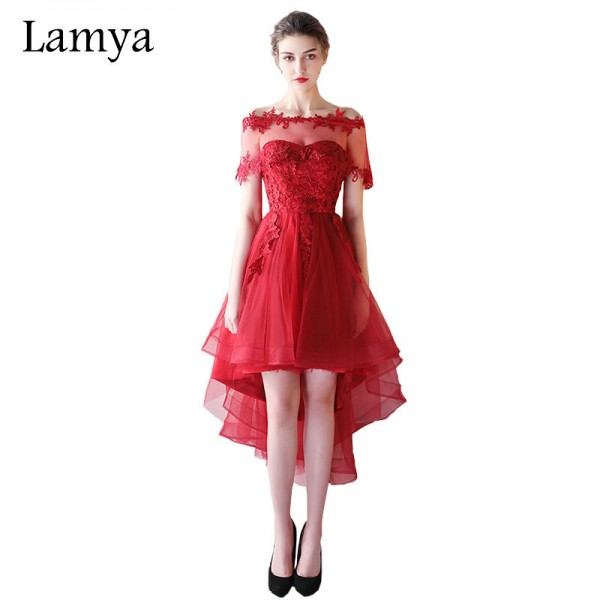 Lamya Lace Cap Sleeve Removed Prom Dresses Princess Style Short Front Back Long Evening Party Dress Elegant Robe Extra Image 1