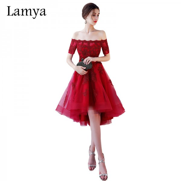 Lamya Princess Short Front Long Back Prom Dresses Sexy High Low Party Dress Elegant Lace Plus Size Fromal Gown Extra Image 1