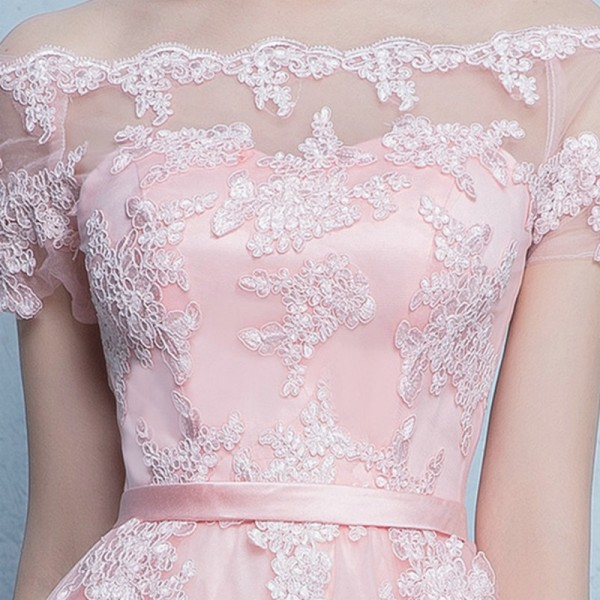 86cdf625c9b6 Lamya Princess Short Front Long Back Prom Dresses Sexy High Low Party Dress  Elegant Lace Plus Size Fromal Gown