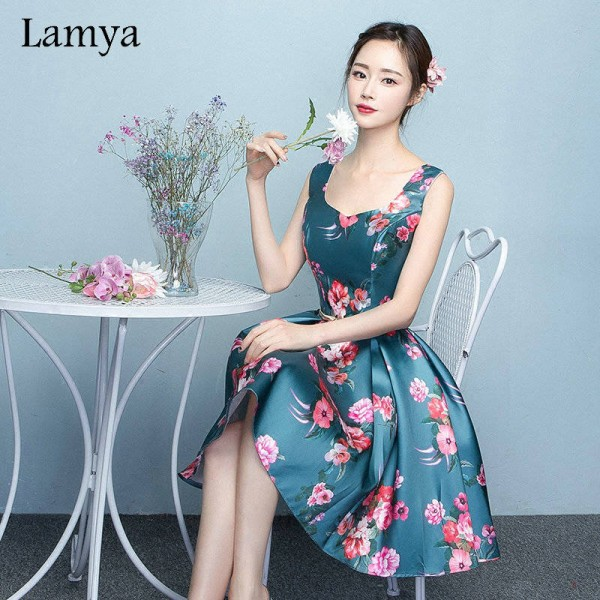 Lamya Sweetheart Vintage Printing Short A Line Stain Evening Dress