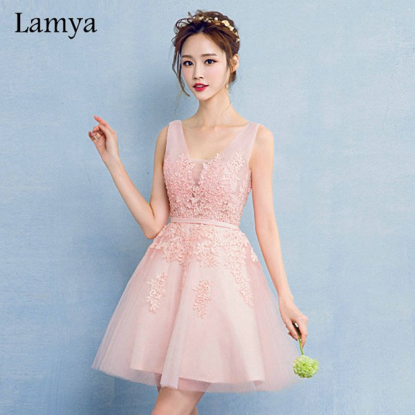 0e035bc4af0 Lamya V Neck Plus Size A Line Lace Prom Dress New Arrival Short Elegant Evening  Party ...